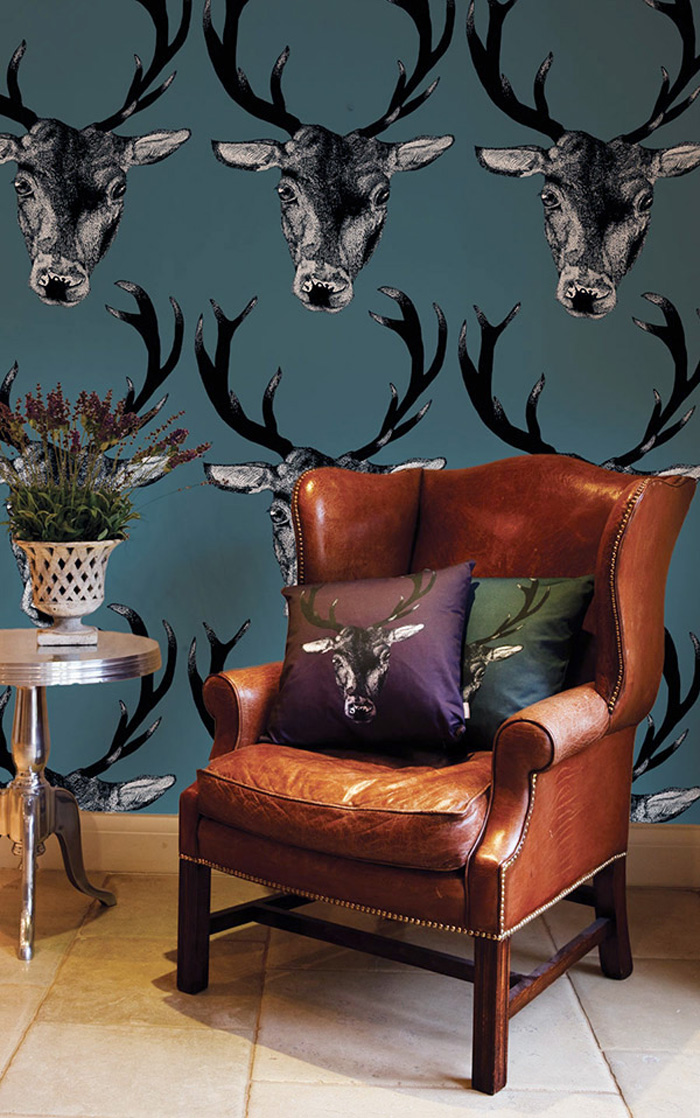 stag-wallpaper-in-teal