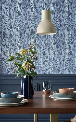 1838 Wallcoverings / WILLOW / Bramble Blue Dusk 2008-149-01