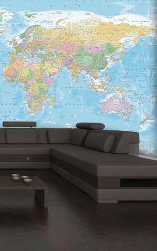 【限定数】1 Wall / XXL Wall Mural / BLUE WORLD MAP