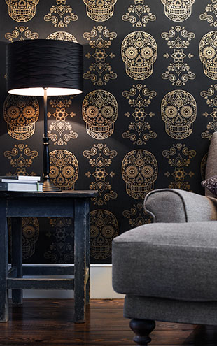 Anatomy Boutique / アナトミー・ブティック Day of the Dead Sugar Skull Wallpaper Black & Gold
