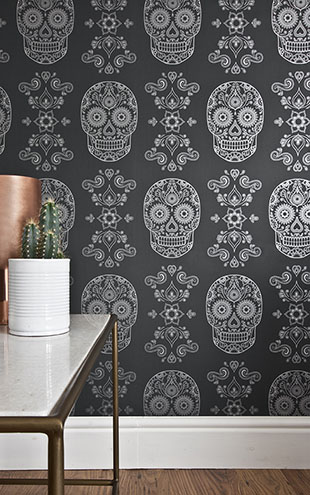 Anatomy Boutique / アナトミー・ブティック Day of the Dead Sugar Skull Wallpaper Grey & Silver
