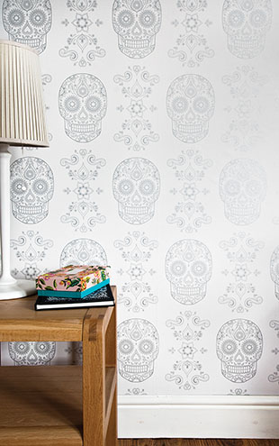 Anatomy Boutique / アナトミー・ブティック Day of the Dead Sugar Skull Wallpaper White & Silver