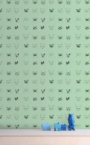 Baines&Fricker / CATS WALLPAPER Green