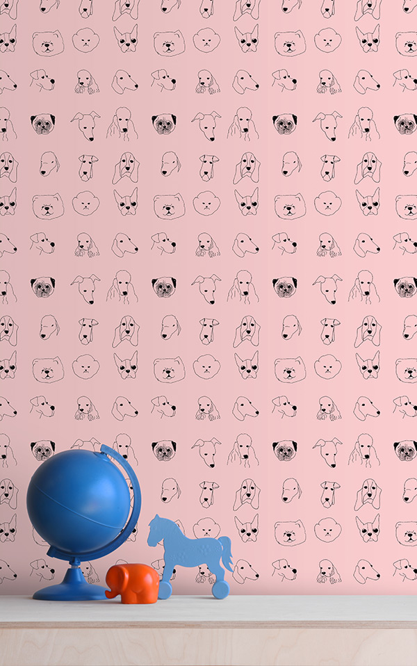 Baines&Fricker / DOGS WALLPAPER Pink