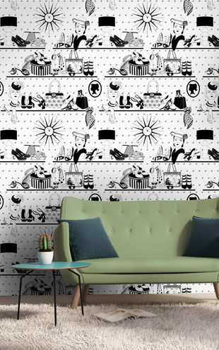 Dupenny Accessories Wallpaper B&W