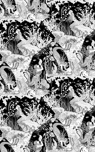 Dupenny MERMAIDS WALLPAPER / B&W