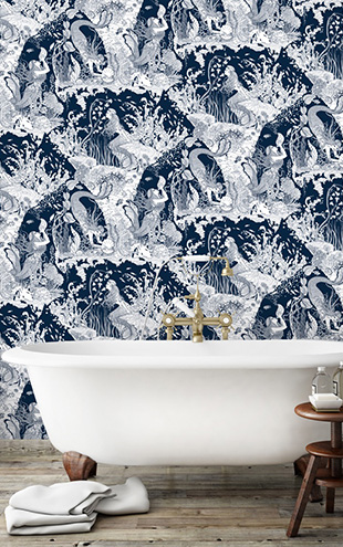 Dupenny MERMAIDS WALLPAPER / NAVY