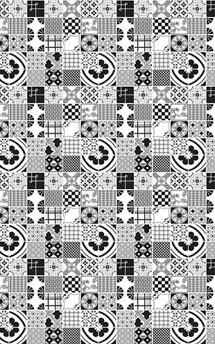 Dupenny Mixed Tiles / Black and White