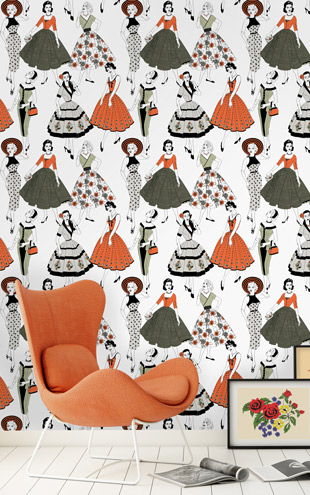 Dupenny Vintage Dress Wallpaper Colour