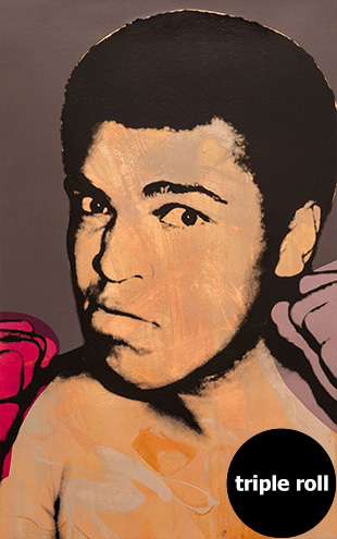 Andy Warhol / ALI / Fire on Bright Gold Mylar (triple roll)