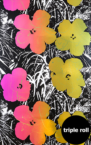 Andy Warhol / FLOWERS / Golden Shower on Chrome Mylar (triple roll)