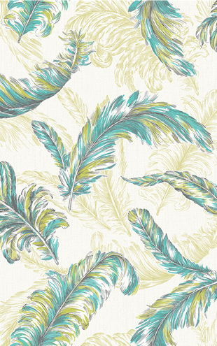 Graham & Brown / GLITTERATI / Gilded Feather 32-947 Green / Teal