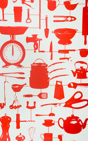 The Graduate Collection / Airfix Kitchen Wallpaper Red