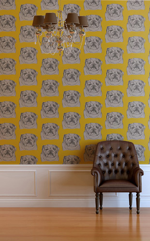 The Graduate Collection / Bulldog Wallpaper Mustard