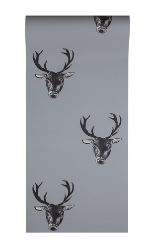 The Graduate Collection / Stag Print Wallpaper Grey