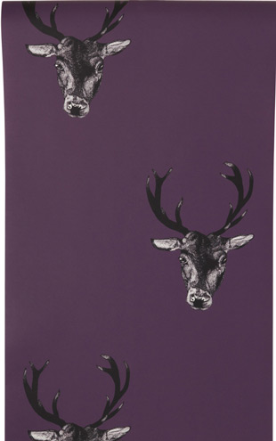 The Graduate Collection / Stag Print Wallpaper Plum