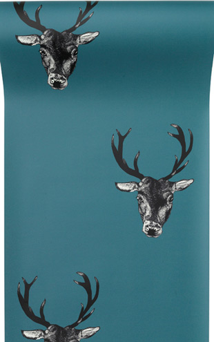 The Graduate Collection / Stag Print Wallpaper Teal