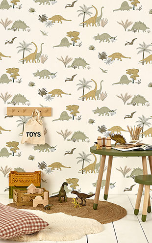 HIBOU HOME / Dinosaurs Jurassic Grey/Olive HH01701