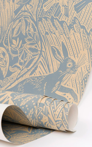 St. Judes Harvest Hare Wallpaper(Slate Blue)