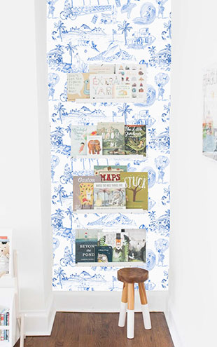 KARIOKAS / IPANEMA Blue Toile WallP-IPA-Blue-01