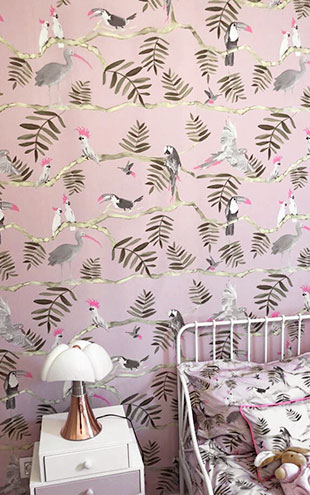 KARIOKAS /  PANTANAL Grey and Pink Toucan WallP-PANT-PinkGrey-02