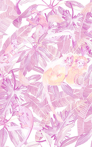 KARIOKAS /  TRIBU Light pink and Orange Monkeys WallP-TRIB-LightPink-05