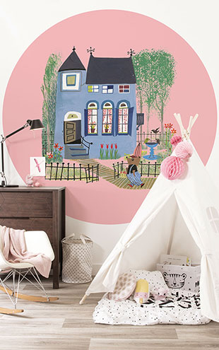 KEK Amsterdam / FIEP WESTENDORP / WALLPAPER CIRCLES BEAR WITH BLUE HOUSE CK-017