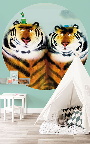 KEK Amsterdam / KIDS / WALLPAPER CIRCLES TWO TIGERS CK-041