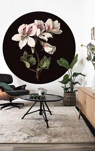 KEK Amsterdam / LANDSCAPES & MARBLE / WALLPAPER CIRCLES WHITE FLOWERS CK-071