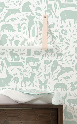 KEK Amsterdam / KIDS / WALLPAPER ABC ANIMALS GREEN WP-044