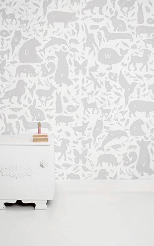 KEK Amsterdam / KIDS / WALLPAPER ABC ANIMALS LIGHT GREY WP-045