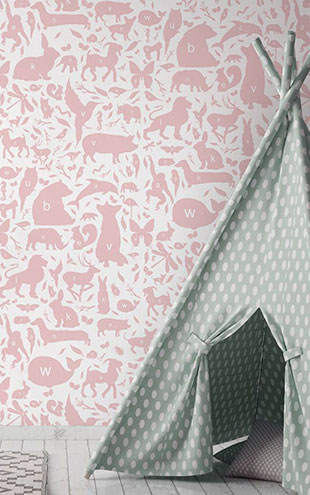KEK Amsterdam / KIDS / WALLPAPER ABC ANIMALS PINK WP-047