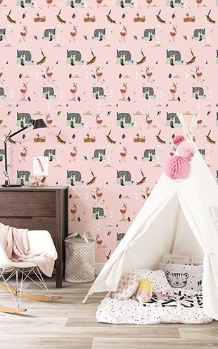 KEK Amsterdam / FIEP WESTENDORP / WALLPAPER FOREST ANIMALS PINK WP-100