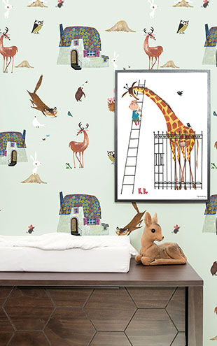 KEK Amsterdam / FIEP WESTENDORP / WALLPAPER FOREST ANIMALS GREEN WP-101