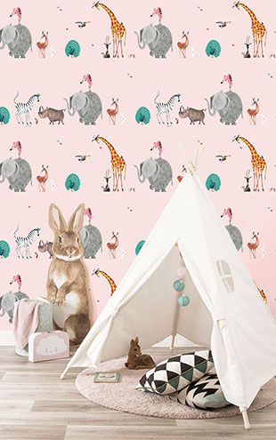 KEK Amsterdam / FIEP WESTENDORP / WALLPAPER ANIMAL MIX PINK WP-132