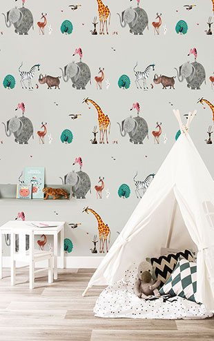 KEK Amsterdam / FIEP WESTENDORP / WALLPAPER ANIMAL MIX GREY WP-133