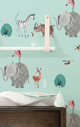 KEK Amsterdam / FIEP WESTENDORP / WALLPAPER ANIMAL MIX MINT WP-134