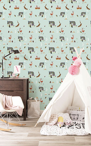 KEK Amsterdam / FIEP WESTENDORP / WALLPAPER FOREST ANIMALS MINT WP-135