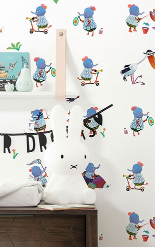 KEK Amsterdam / KIDS / WALLPAPER BLUE ELEPHANTS WP-419