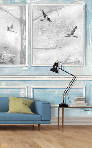 Louise Body Panelled Wall & Birds BluePanelled Wall & Birds Blue