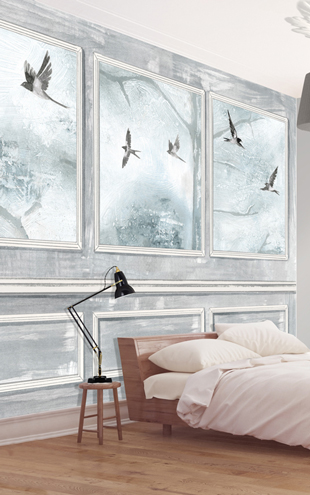 Louise Body / Panelled Wall & Birds Grey