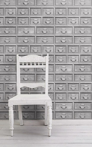 mineheart / Almost White Industrial Drawers Wallpaper WAL/069 SM 066
