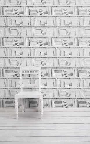 mineheart / Almost White Photocopy Bookshelf Wallpaper