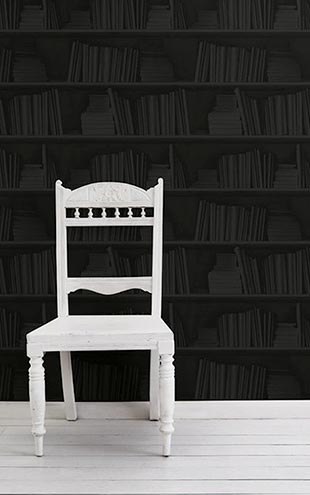 mineheart / Smoky Black Bookshelf Wallpaper