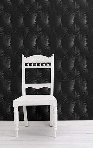 mineheart / Black Chesterfield Button Back Wallpaper