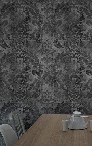 mineheart / Urban Concrete Damask Wallpaper (Dark) WAL/035