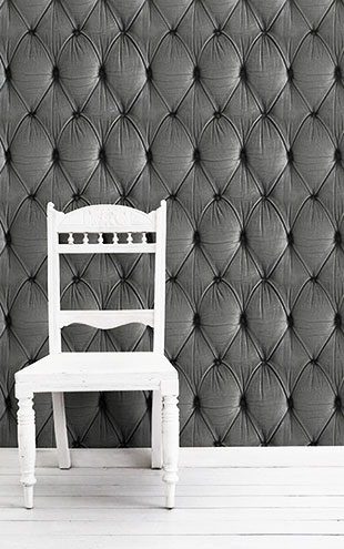 mineheart / Grey Chesterfield Button Back Wallpaper