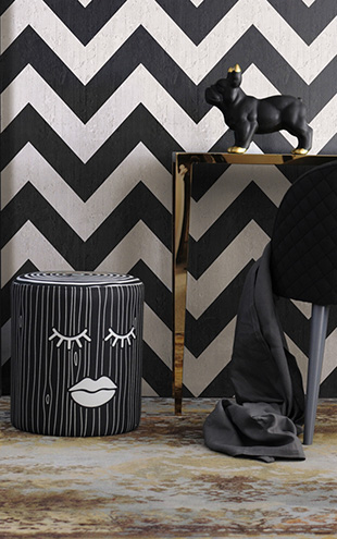 mineheart / Black Geometric Stripes Wallpaper