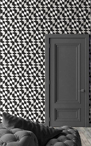 mineheart / Black Geometric Cubes Wallpaper