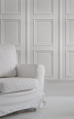 mineheart / White Panelling Wallpaper